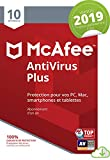 McAfee AntiVirus Plus 2019 |10 appareils | 1an d'abonnement | PC/Mac/Android/Smartphones [Download code]