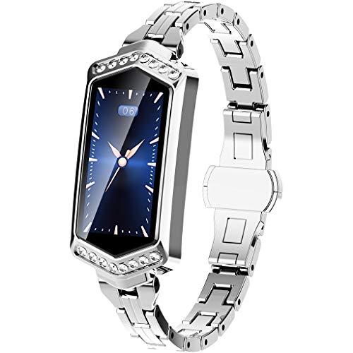 HKPLDE Fitness Armband Damen/Smartwatch wasserdicht Schrittzähler Sportuhr mit Pulsmesser Schlafüberwachung Kalorienzähler für iOS Android-Silber