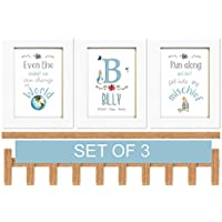 Nursery Wall Art Set of 3 Peter Rabbit Baby Personalised New Baby Boy or Girl Print Perfect Christening, Baptism Gift A5 OR A4 Unframed