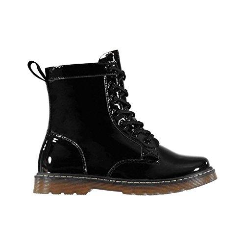 ädchen Stiefel Schnürstiefel Reißverschluss Boots Schwarz Lack C13 (32) (Schwarze Stiefel Kind)
