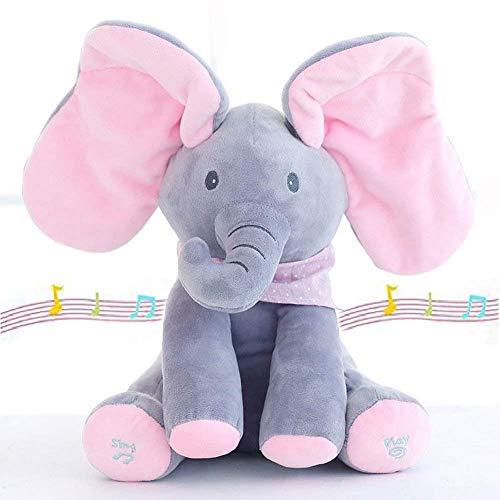 PEEK-A-BOO Musik Plüsch Elefanten Spielzeug Geschenke für Kinder-spielen Hide-and-seek Elektrische Spielzeuge Baby-Kuschel-Puppe Musik Tiere