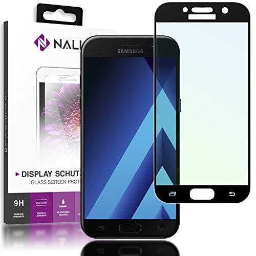 NALIA Schutzglas kompatibel mit Samsung Galaxy A3 2017, Full-Cover Displayschutz Handy-Folie, 9H gehärtete Glas-Schutzfolie Bildschirm-Abdeckung, Schutz-Film Clear HD Screen Protector, Farbe:Schwarz
