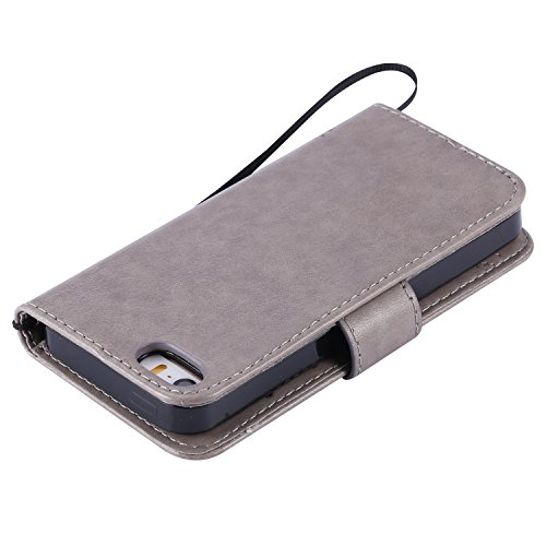 EUWLY Lanyard Portafoglio Cover in Pelle per [iPhone 7/iPhone 8 (4.7)],Creativo Divertente e Carina Retro Wallet Custodia [gatto, Albero] Goffratura Modello Cover Case per iPhone 7/iPhone 8 (4.7), F Gatto Albero,Grigio