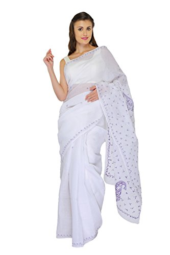 Bds Chikan Cotton Saree (Bds00556_White)