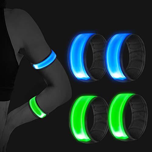 Vegena 4 Stück Reflektorband, LED Armband Leuchtband Reflective Leucht Armbänder Lichtband Lauflicht Licht Reflektoren Kinder Reflektor für Laufen Joggen Radfahren Hundewandern Running Outdoor Sports