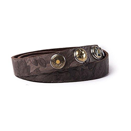 Brown Skinny Belt (Noosa Gürtel Belt Classic Skinny Embossed chocolate brown, Grösse:80 cm)