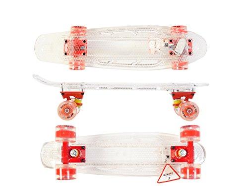 MAXOfit® Mini LED Skateboard TRANSPARENT, mit integriertem LED Lichtband und LED Rollen