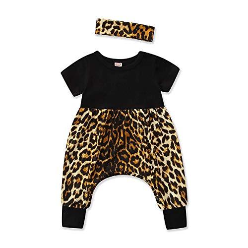 louzheni Neugeborenes Baby Mädchen Leopard Strampler Body Harem Overall Outfits Frühling Sommer Tops + Stirnband 2 STÜCKE - Leoparden-strampler