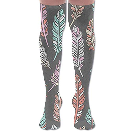 Bohemian Feathers Upgraded Knee High Graduated Compression Socks for Women and Men - Best Medical,Nursing,Travel & Flight Socks - Running & Fitness.