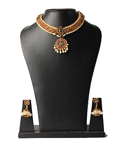 Fashion205 Multicolor Gold Plated Necklace And Earrings Set for Women