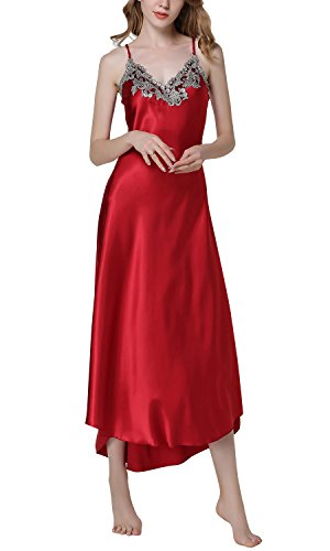 Dolamen Chemises de nuit Femmes Satin, Femmes Ensemble de Pyjama, Luxe Dentelle Lingerie Spaghetti Strap Chemise Babydoll chemise de nuit Longue (Medium, Rouge)