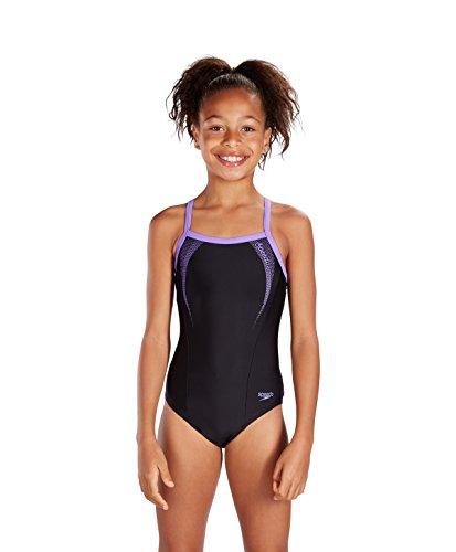 Speedo Girls' Sports Logo Thinstrap Muscleback Swimsuit