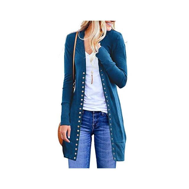 ASSKDAN Sweater Cardigan Long Tricots Femme Gilet avec Boutons Outerwear  Blouson Manteau Tunique ... 2c1470b20216