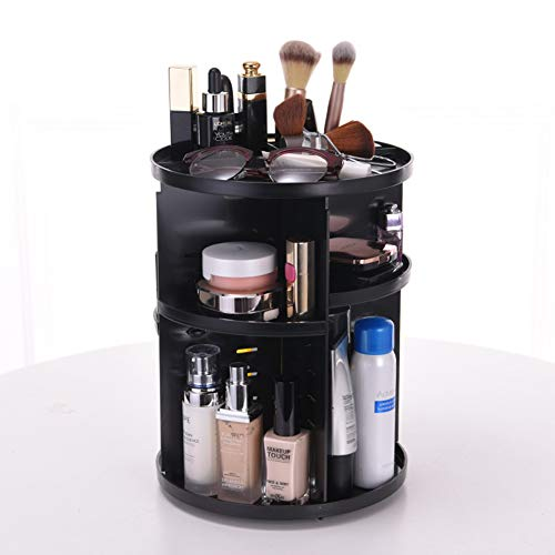 Bod 360 Grado Giratorio Maquillaje plástico cosmética Caso Caja de Almacenamiento cosmético Cuidado de la Piel Almacenamiento Rack de Almacenamiento,Black