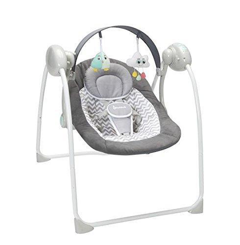 Badabulle Komfort Babyschaukel, elektrische Babywippe und Schaukel mit 3 Schaukelgeschwindigkeiten, Timer und 8 Melodien