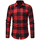 UFACE Herren Herbst Winter Casual Plaid Print Langarm-Taste T-Shirt Top Bluse (XL, rot)