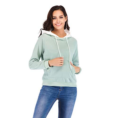 Lambswool Rollkragen (LEXUPE Frauen Nähte Kontrastfarbe Langarm Plus Velvet Pullover Sweatshirt(Grün,Large))