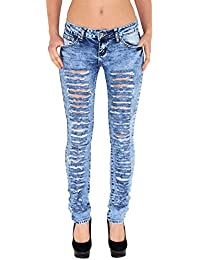 by-tex Jean Femme Skinny Pantalon Taille Haute ou Taille Basse Femmes Stretch Jeans # S500
