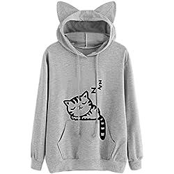 Sudadera con capucha para mujer Gato Manga larga Tops Blusas Camisas casuales Abrigo de niña LMMVP (S, Gris)