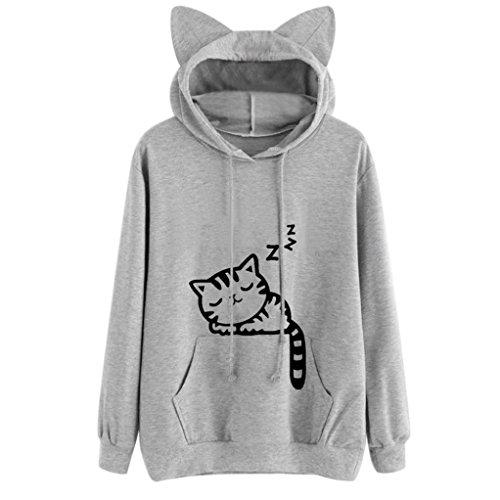 LMMVP Sudadera con Capucha para Mujer Gato Manga Larga Tops Blusas Camisas Casuales Abrigo de niña (M, Gris)