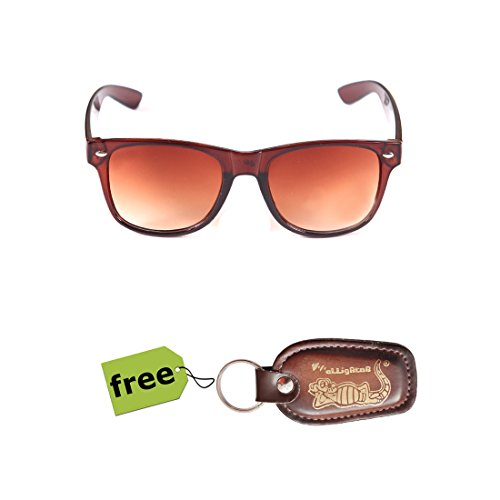 Elligator Trendy Brown Wayfarer Sunglass With Elligator Stylish PU Key Chain Combo (Set Of 2)  available at amazon for Rs.179