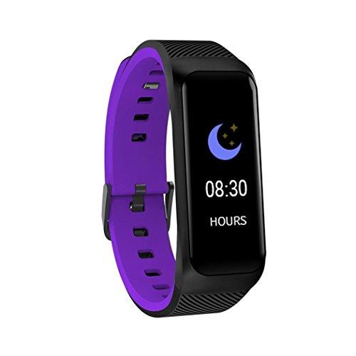 IGEMY Intelligentes Armband - Kalorien Rekord Blutdruck Monitor Übung Herzfrequenz Erkennung Schrittzähler Smart Watch (Lila)