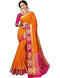 Indira Designer Women's Multi Color Balatan Silk Kanjivaram Style With Blouse Saree (Multi Color_Free Size)
