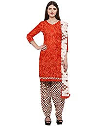KANCHNAR Women's Cotton Unstitched Dress Material (487D2012_Red_Free Size)