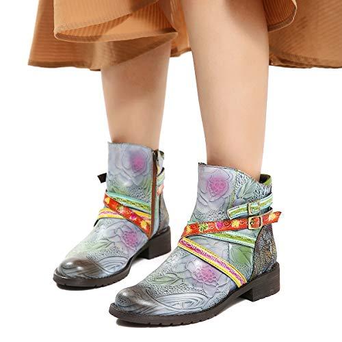 Gracosy Bottines Cuir Plates Femme, Chaussures de Ville Hiver Bottes à Talons Plats Carres Moyens avec Semelle Confortable Boots Santiags Originales Zip Lanière Bohème Chic 2018, Multicolore, 41