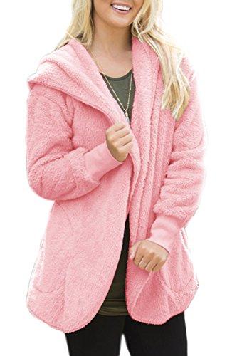 Phoque À Capuchon Poche Ouverte Lhiver Polaire Des Femmes Devant Cardigan Outercoat Haut De La Page pink