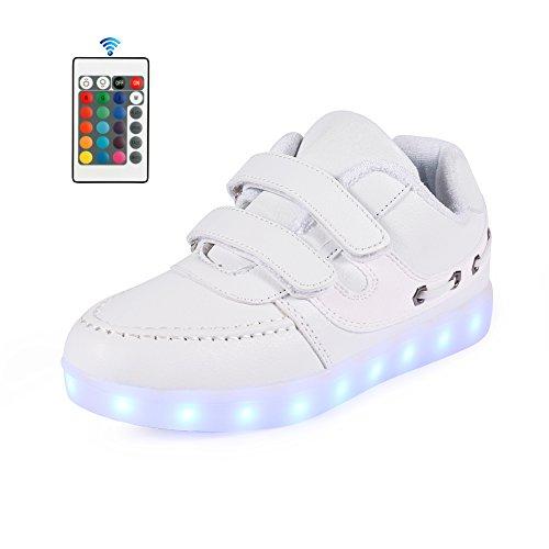 AFFINEST Kinderschuhe 7 Farben LED Schuhe USB Charging LED Fashion Sneakers Mit (Weißen Kostümen Jungen Stiefel)