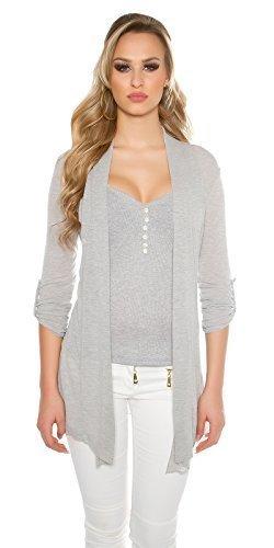 Sweatshirt Turn-up (Fashion Damen Basic Cardigan Strickjacke Jacke Turn up Ärmeln Gürtel, grau)