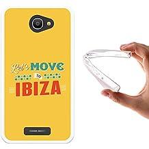 Funda Alcatel Pop 4S, WoowCase [ Alcatel Pop 4S ] Funda Silicona Gel Flexible Let's Move To Ibiza, Carcasa Case TPU Silicona - Transparente