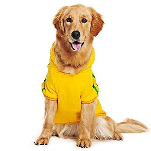 Eastlion adidog Hunde Warm Hoodies Mantel Kleidung Pullover Haustier Welpen T-Shirt Gelb 3XL - Leuchtet Nur T-shirts