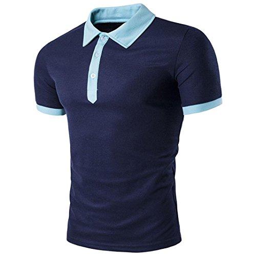 Btruely Herren Shirt Polo Kurzarmshirt Slim Fit Polohemden Kurzarm T shirt Sports Top Männer Freizeit Hemd (XL, Marine) (Grau Shirt Training Marine)