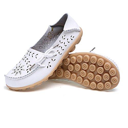 Sandálias Sapatos Senhoras Baixos Moccasin De Sapatos Barco Vai Sapatos Brancas Mocassins De Couro Oriskey E7w8qdq