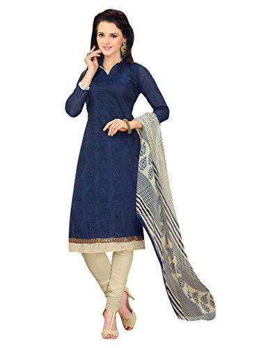 Applecreation Women's Chanderi Cotton Salwar Kameez (Blue, 11AKS11017)