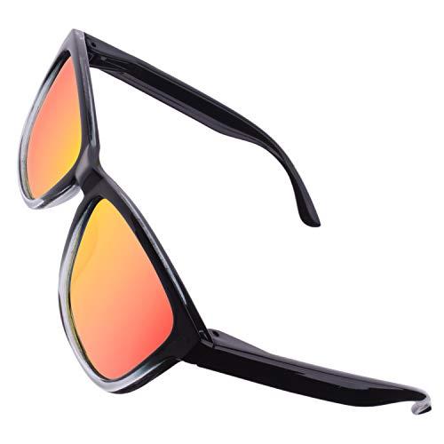 CGID Retro 80er Sport Designer Klassische Sonnenbrille für Männer und Frauen Polarisierte Sonnenbrille Brille Ultra Leicht 100% UV400 Schutz Glänzender Schwarzer Rechteck Rahmen Rote Verspiegelte