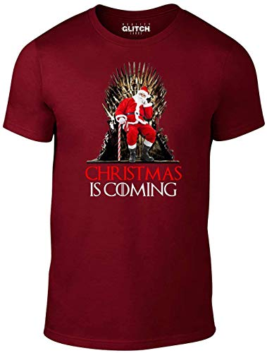 Reality Glitch Herren 's Christmas is Coming T-Shirt Gr. XXXL, Burgunderfarben