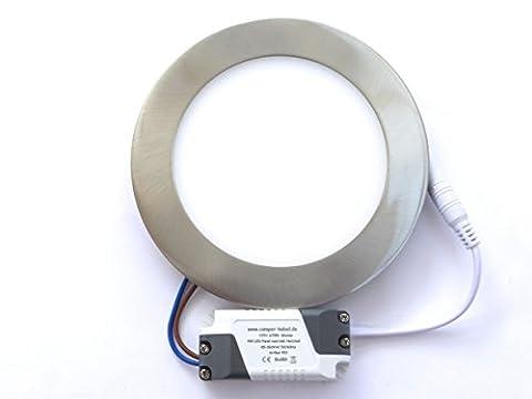 HTH Art. 453N LED 9W Panel Einbaustrahler rund, silber, flach, warmweiss entspricht 60-75W