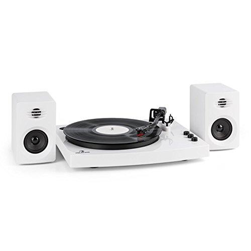 auna TT-Play • Tocadiscos con Dos Altavoces estéreo • Tocadiscos • Tracción por Correa silencioso • Cápsula de cerámica • Pitch Control • 33 1/3 y 45 RPM • Bluetooth 4.2 • Blanco