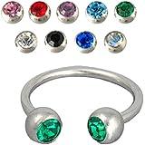 Kuyou - 9 x 1.2 mm Piercing herradura anillos nariz uñas Múltiples Colores joyería Hoop