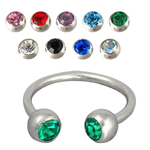 Belsen 9 Stück 16g Hufeisen Ohrringe Ringe Hoop Körper Piercing (Multi-Color) - Stahl Ohrringe 16-gauge-chirurgischem