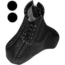 AERZETIX: Funda para palanca de cambios 100% Piel genuina con costuras de colores variables (Negro)