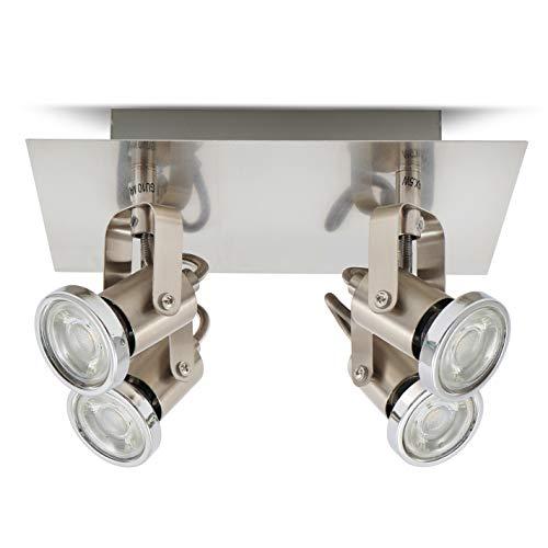 Lámpara de techo moderna I Orientables GU10 I 4 Focos I Incl....