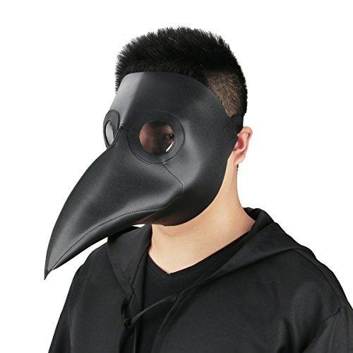 Cusfull Schnabelmaske Mittelalter Pest-Maske Doktor Arzt Kopfmaske Steampunk Kostüm Zubehör für Erwachsene Halloween Party Fasching Karneval PU Leder Schwarz