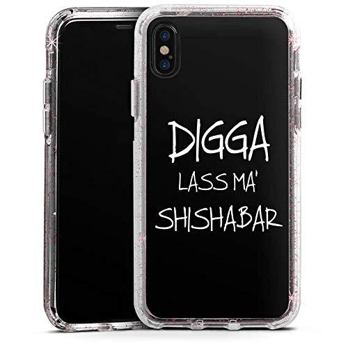 DeinDesign Apple iPhone XS Bumper Hülle Rose goldtransparent Bumper Case Schutzhülle Glitzer Look Shisha Yallah