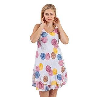 Love My Fashions Yadira Cotton Sleeveless Multi Spot Tiered Hem Dress White