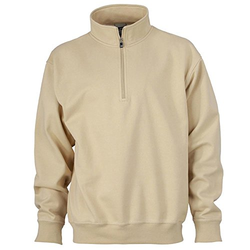 James & Nicholson - Workwear Half-Zip Sweatshirt Stone