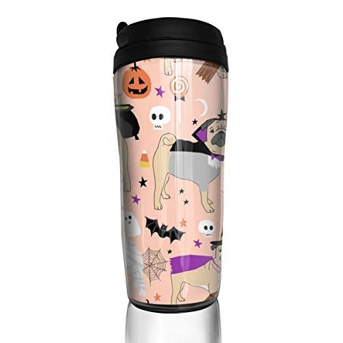 t Mops-Motiv - süße Hunde in Kostümen - Peach_ 24623 Kaffeetasse, auslaufsicher, mit Klappdeckel, umweltfreundliches Material ABS ()